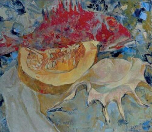 Натюрморт с рыбой, 70Х80,1997,1071